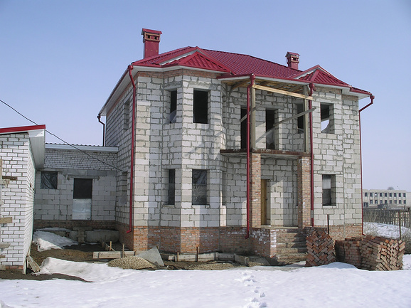 Проект дома из пеноблоков и кирпича