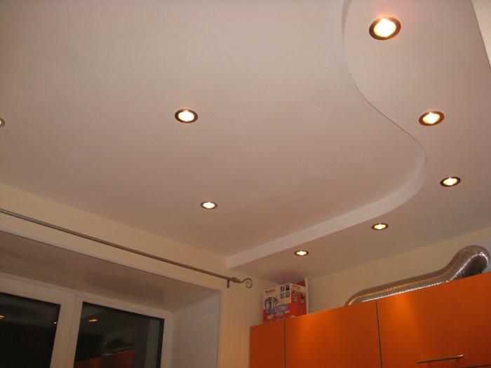 Потолок на кухне двухуровневый из гипсокартона